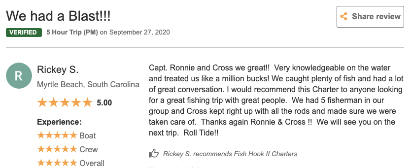 Fish Hook 2 Charters Review