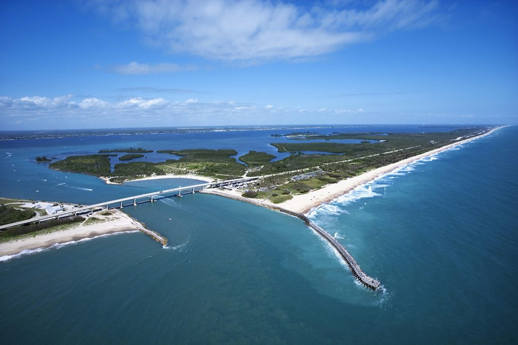 An aerial view of Sebastian Inlet State Park