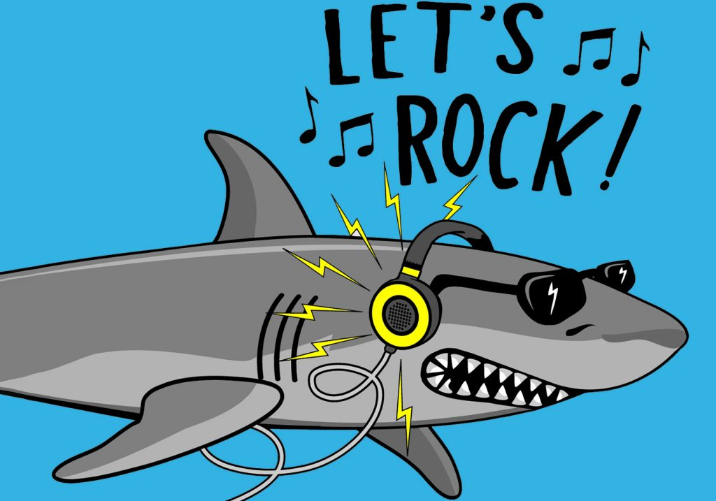 """An illustration of a Shark wearing sunglasses and listening to loud music on headphones, with text above reading """"Let's rock!"""""""