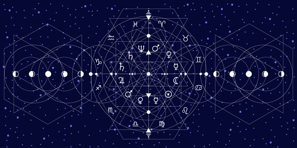 An illustration of the moon phases and the zodiac set against a patterns of stars