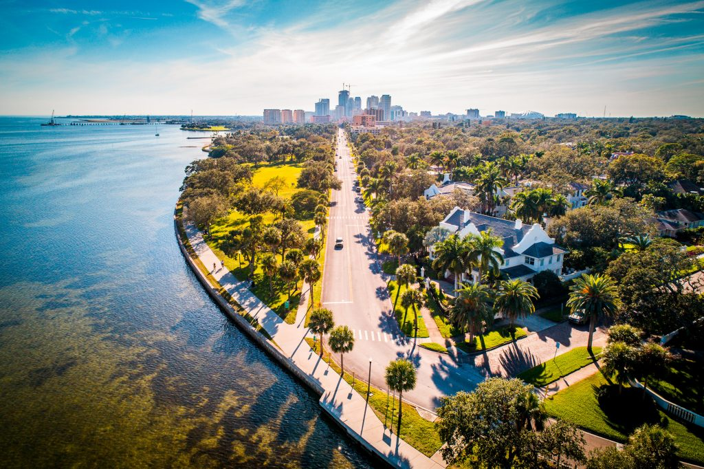 An aerial view of the waterfront in St. Petersburg, FL