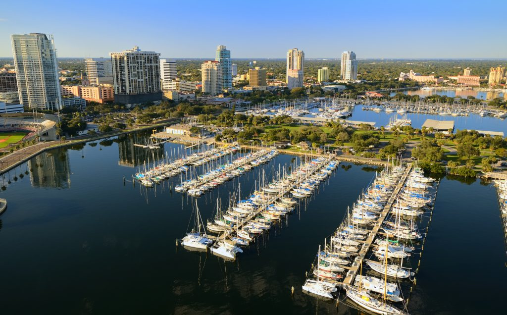 An aerial view of a marina in St. Petersburg, FL