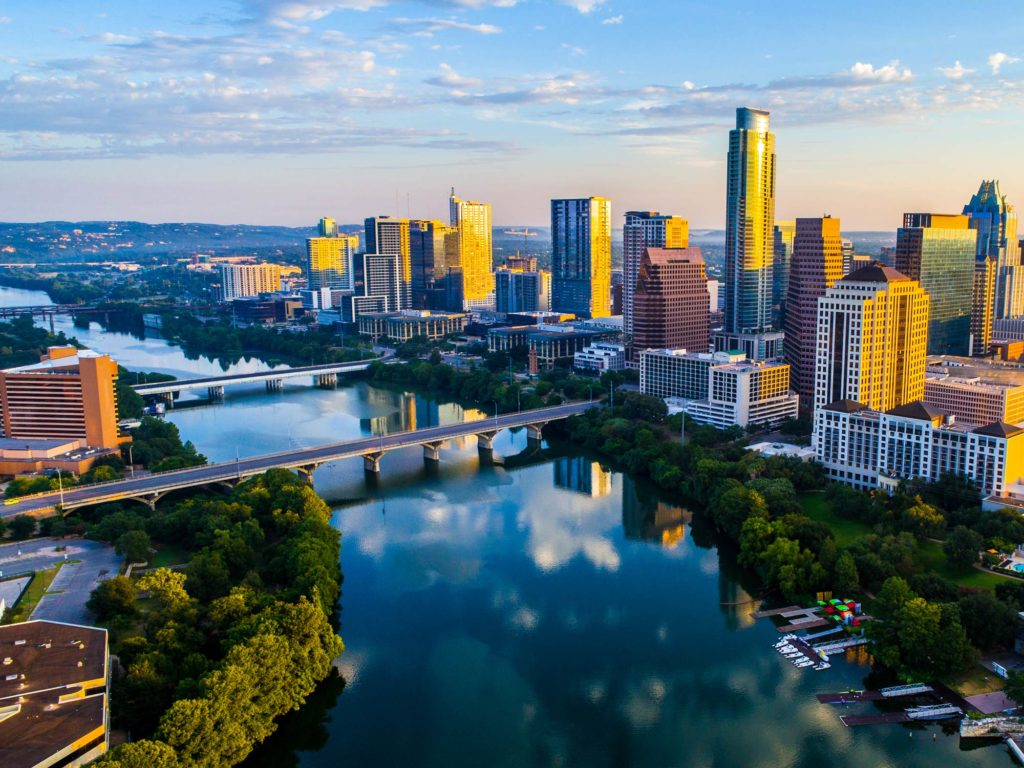 An aerial view of Austin, TX city skyline