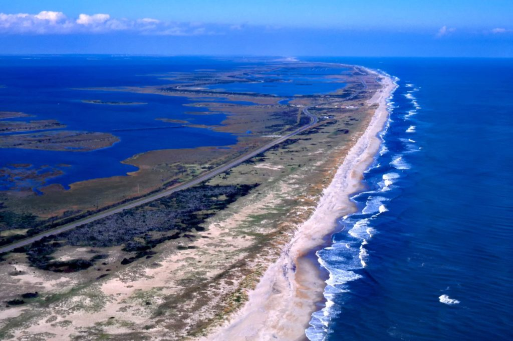An aerial view of Outer Banks, North Carolina