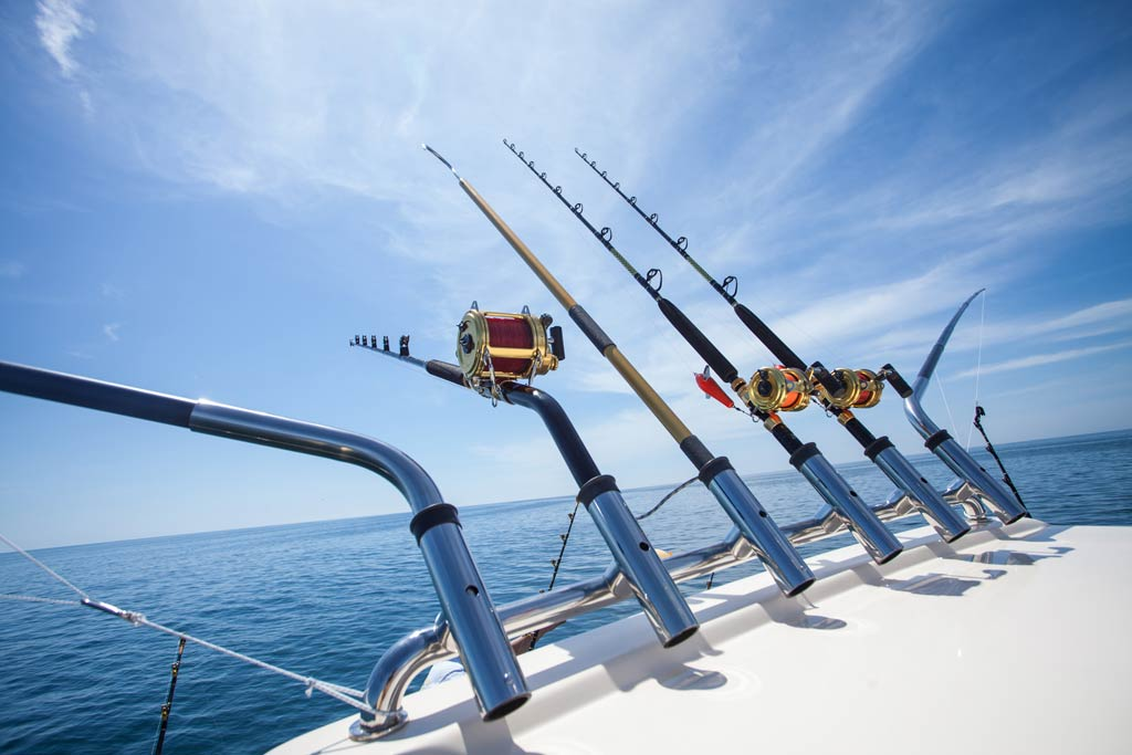 Trolling rods and reels set up for big game fishing