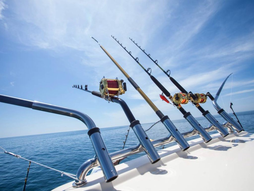 Multiple rods on a boat while trolling