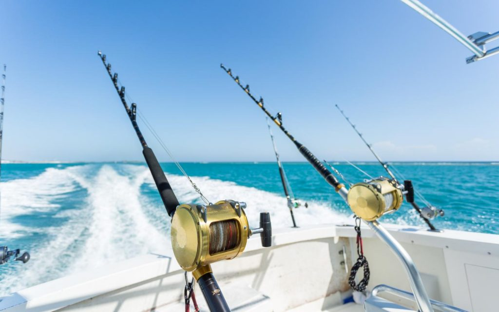 a picture of several trolling rods with a view of the water from the stern of a moving boat