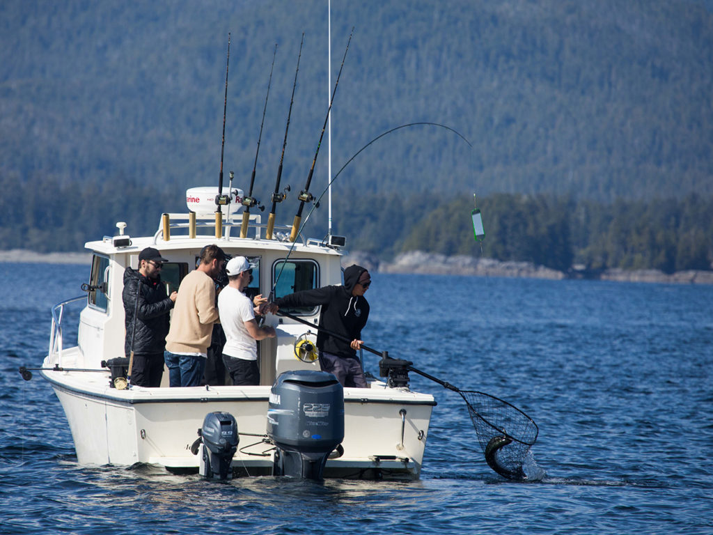A group on a sportfishing boat in Vancouver Island, bringing in a Salmon in a catch net