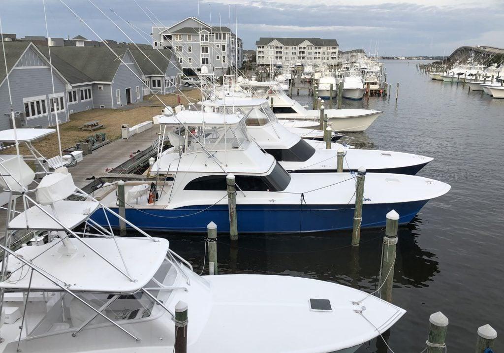 A marina in Virginia Beach full of large charter fishing boats