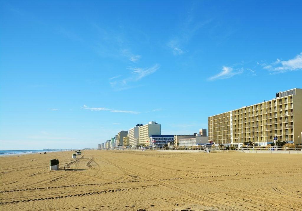 A view along the Oceanfront of Virginia Beach, VA