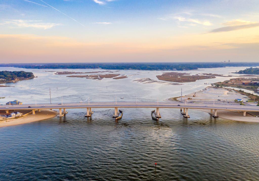 An aerial view of Lesner Bridge and Lynnhaven Bay