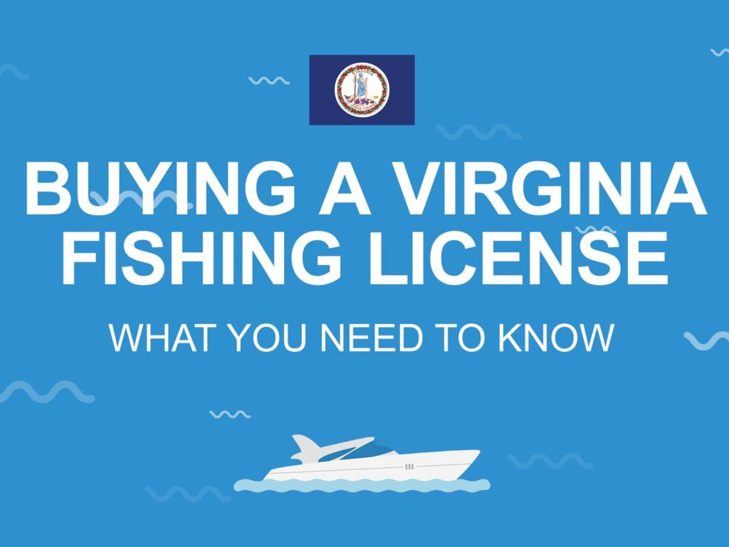 """An infographic with the state flag of Virginia and text that reads: """"Buying a Virginia Fishing License"""""""