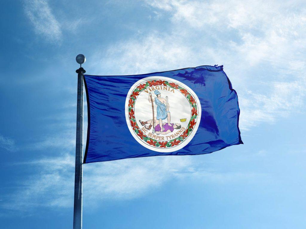 Virginia state flag on a flagpole