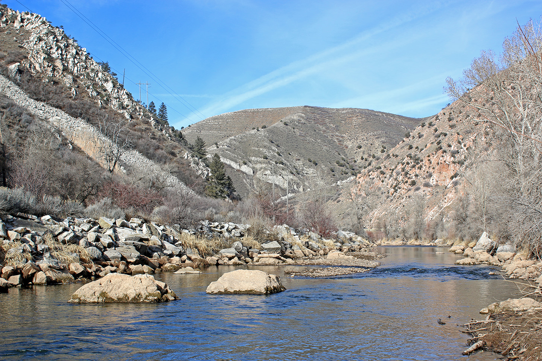 The Lower Weber River as it runs through Weber Canyon
