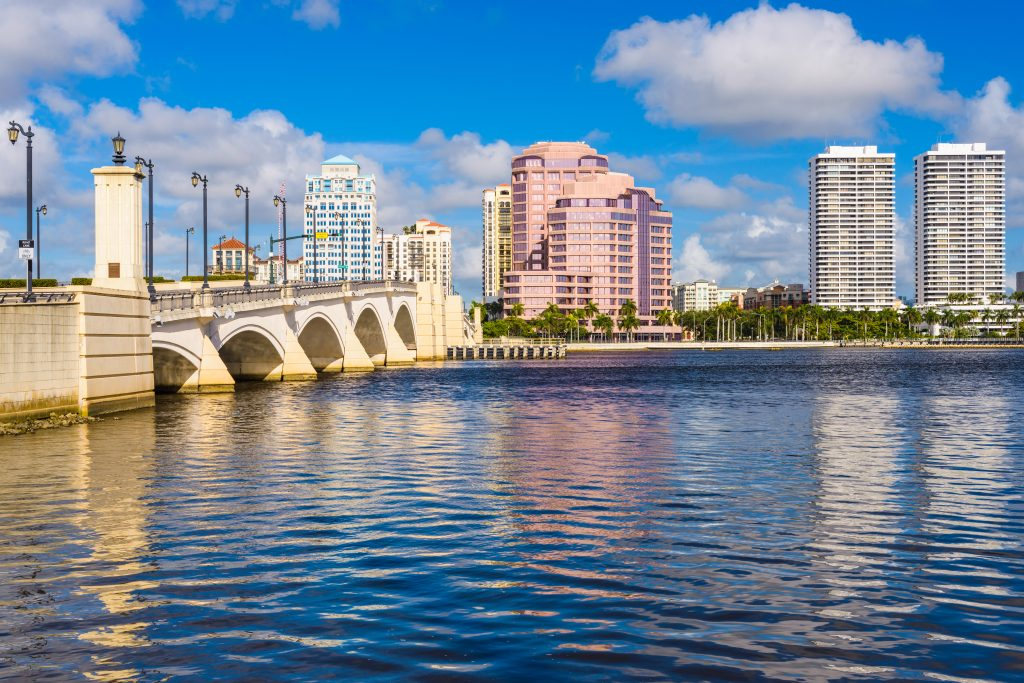 a view of west palm beach and a bridge