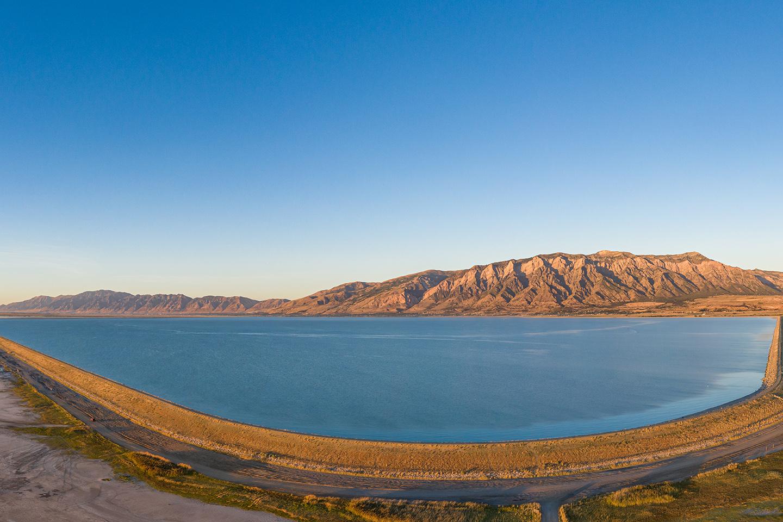 An aerial view of Willard Bay Reservoir, originally part of Great Salt Lake