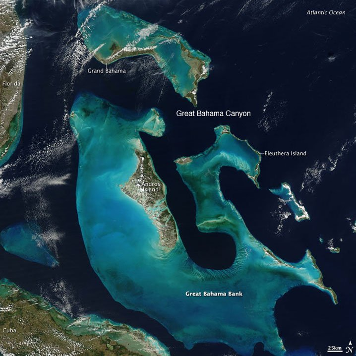 A satellite image of the Bahamas showing the Grand Bahama Canyon, water depth around the Bahamas islands, and fishing grounds in the Bahamas