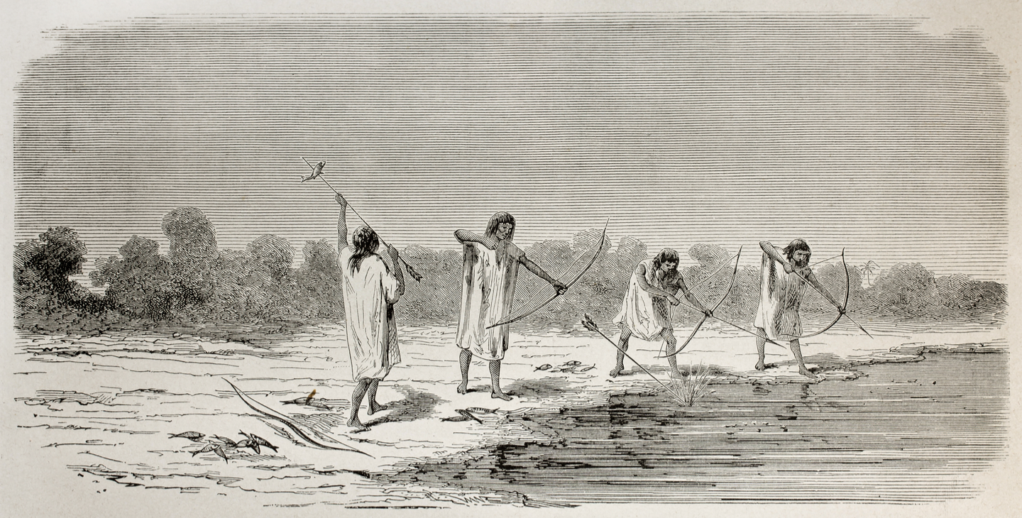 Native Americans bowfishing from the shore