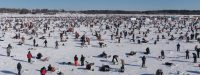 brainerd Jaycees Ice Fishing Extravaganza a view of the crowd on the lake
