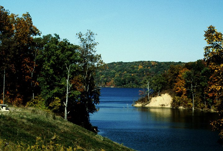 View of the Brookville Lake with trees and islands in the background