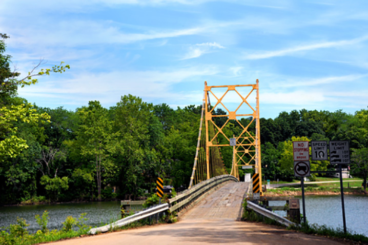 A yellow bridge over the White River outside of Eureka Springs, Arkansas