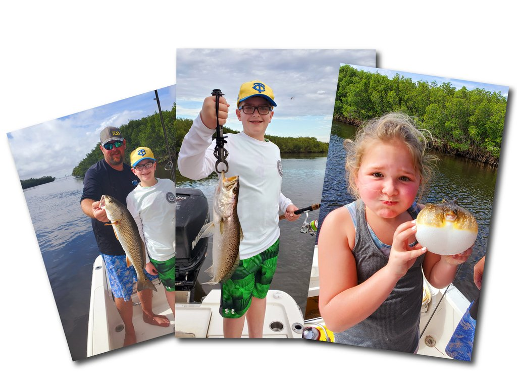 a collage showing a father and his daughter and son posing with their catches on a fishing boat