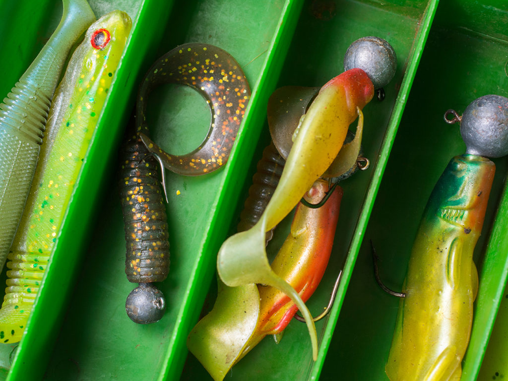A selection of jigging lures commonly used in finesse fishing