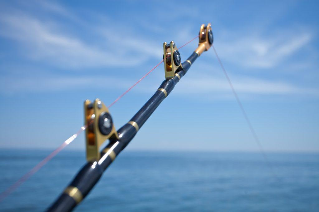 a braided fishing line on a trolling rod
