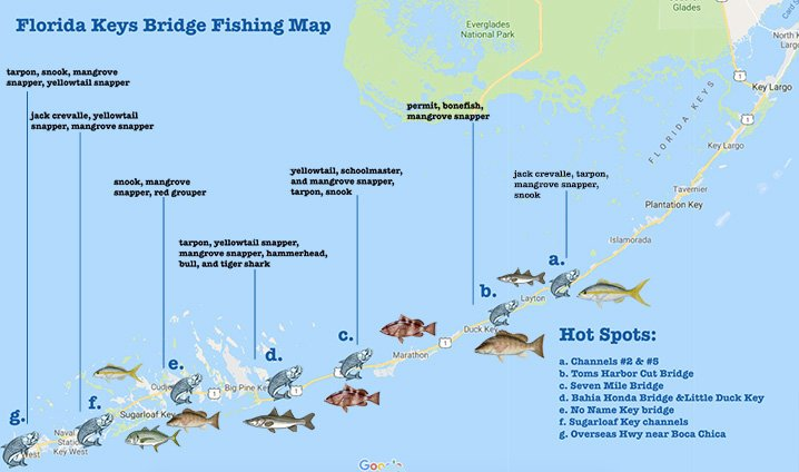 Florida Keys Map With Mile Markers.Florida Keys Bridge Fishing 113 Miles Of Angling Paradise