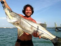 Slob Snook fishing: A Florida angler holding a slob Snook he caught on his fishing trip.