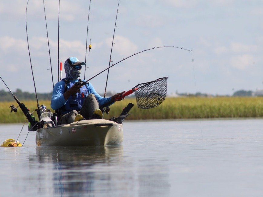 An angler fishing from a kayak