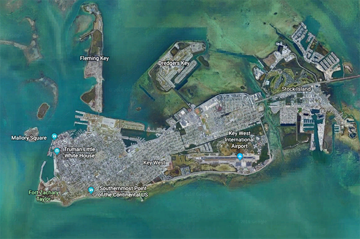 Aerial view of Key West.