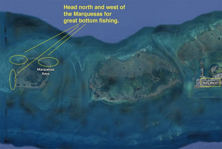 A map showing Marquesas bottom fishing spots.