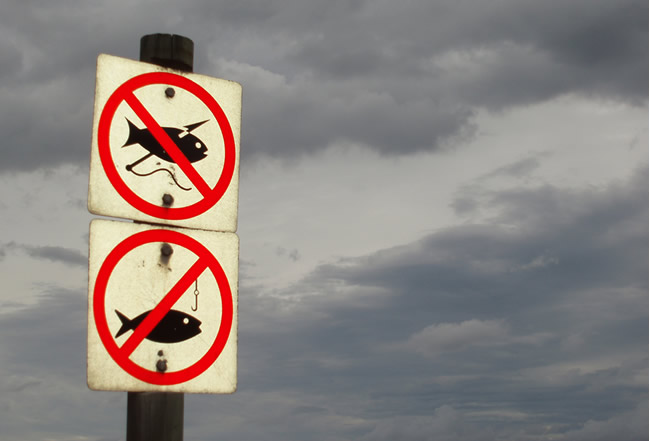 """A """"no fishing"""" sign in the Maldives"""