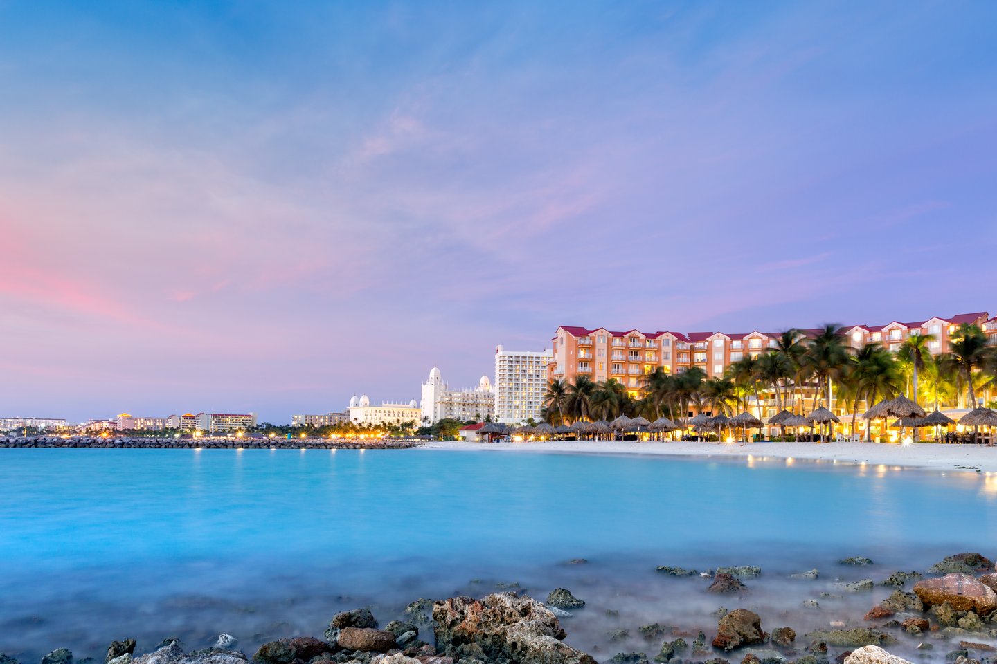 a view of the hotels on the shore of Oranjestad, Aruba