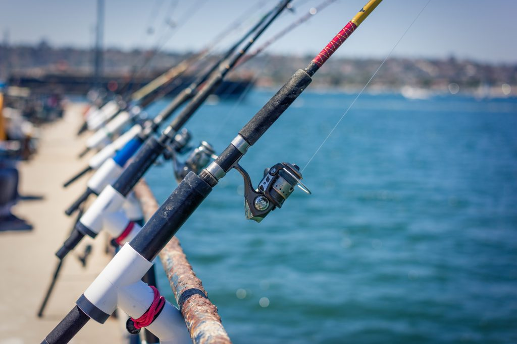 fishing rods on a fishing pier in san diego
