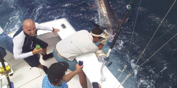 Three anglers standing in the cockpit of a charter fishing boat in Puerto Rico. The man in the middle is hauling in a large Marlin while the other two watch.