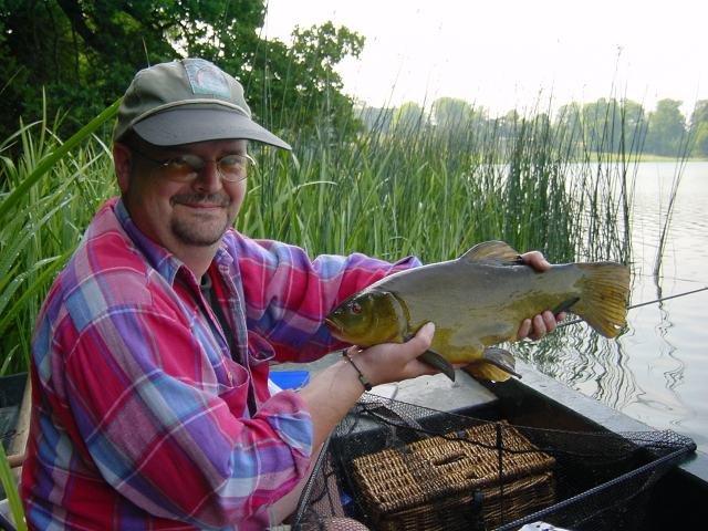 Here is Rob fighting nature and catching a 5 lb plus Tench!