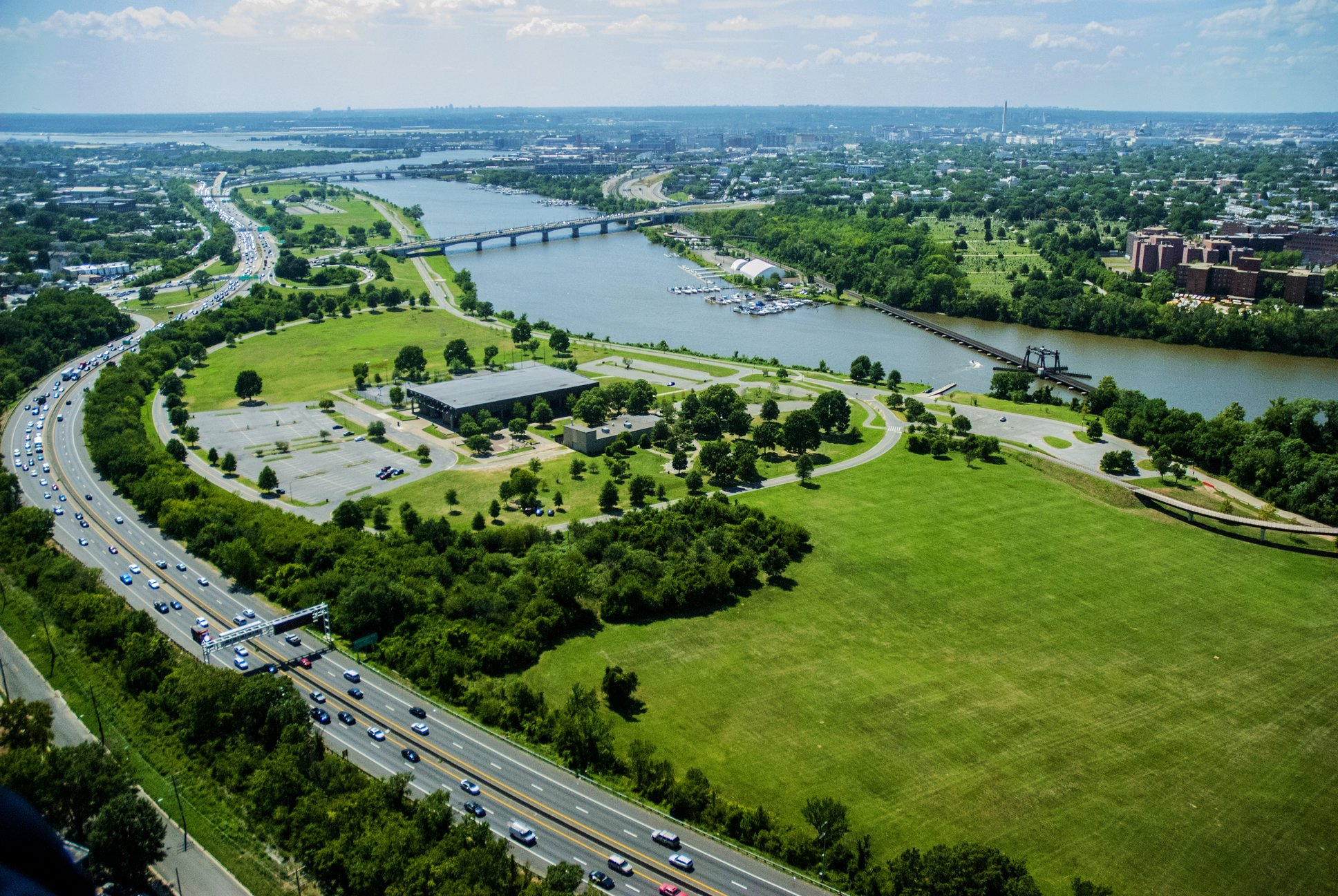 an aerial view of Anacostia Park in Washington D.C.