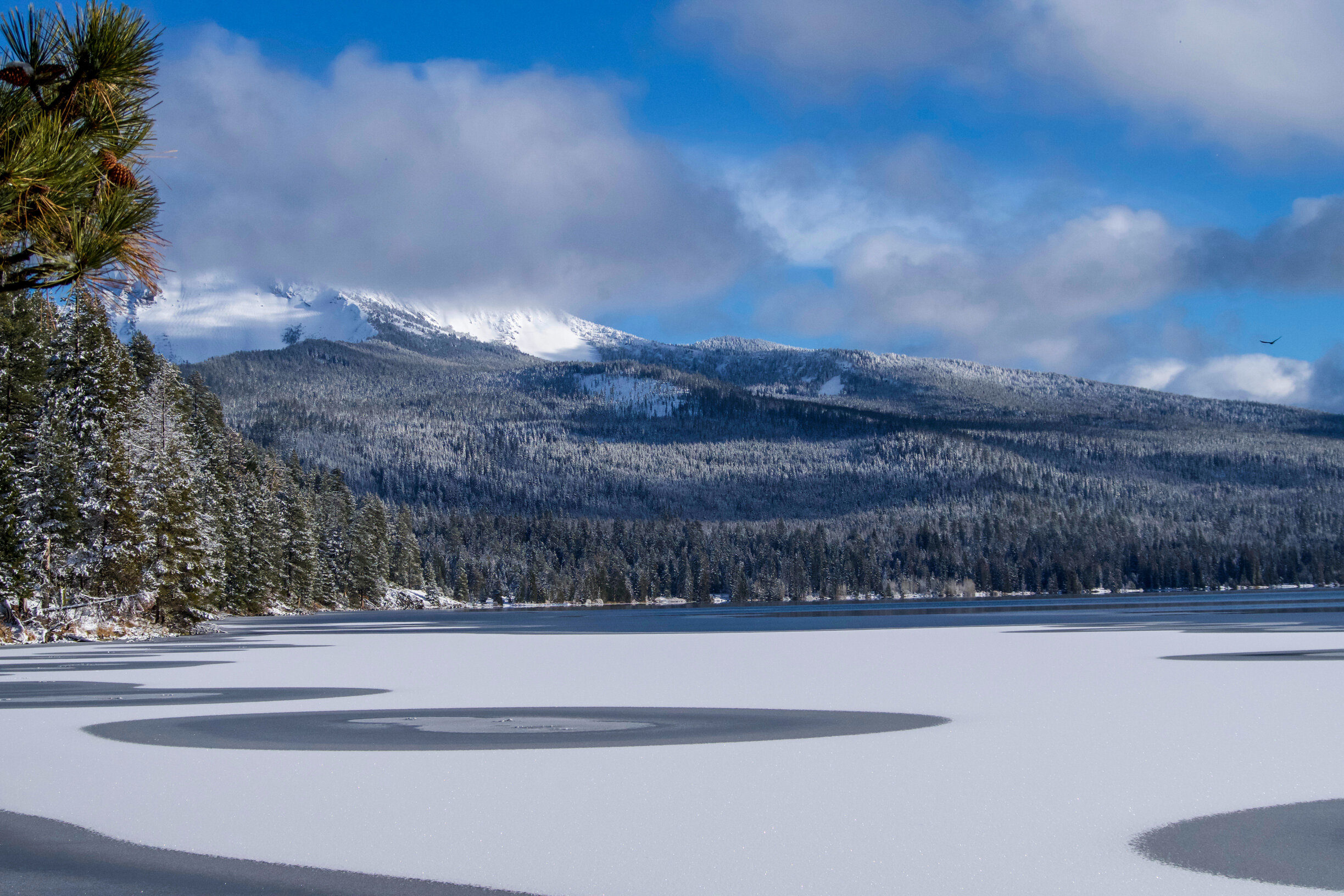 The view over the frozen Diamond Lake in Oregon, with snow-covered mountains lurking over the lake in the distance of the photo