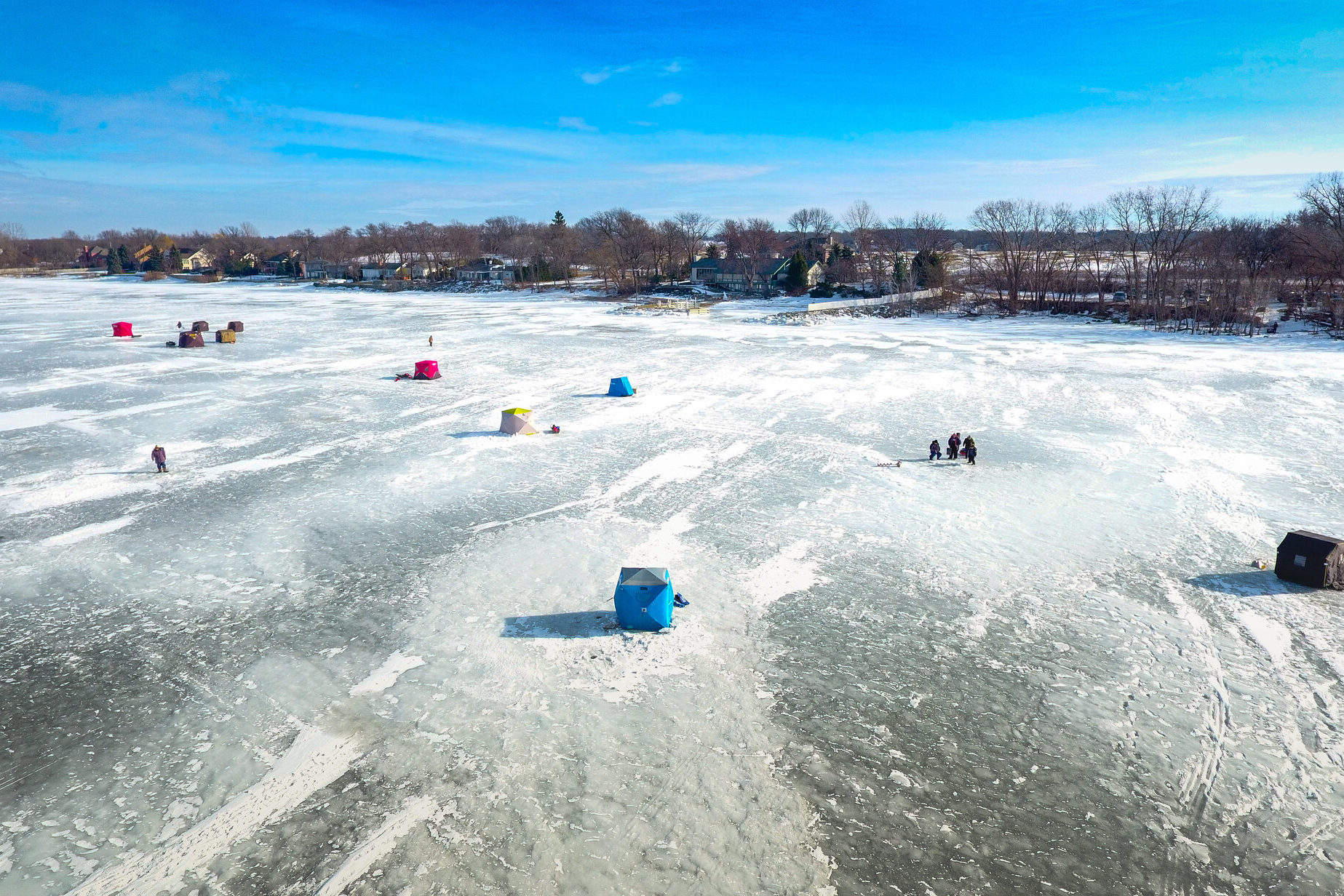 Ice shack on Green Lake, one of the best winter fishing destinations in Wisconsin
