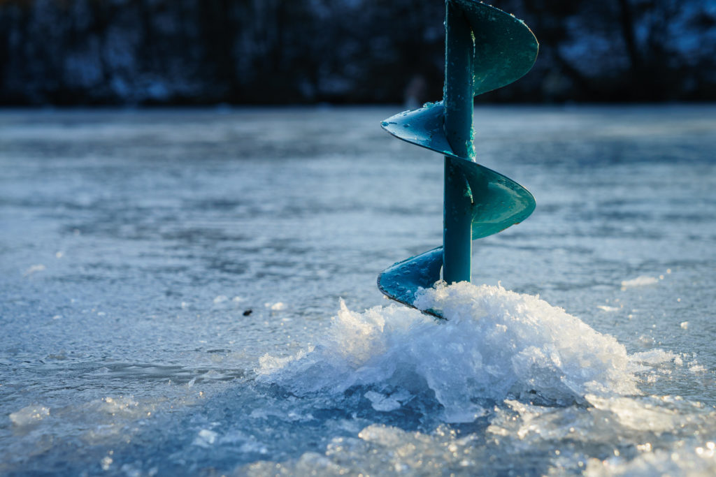 An ice drill in ice