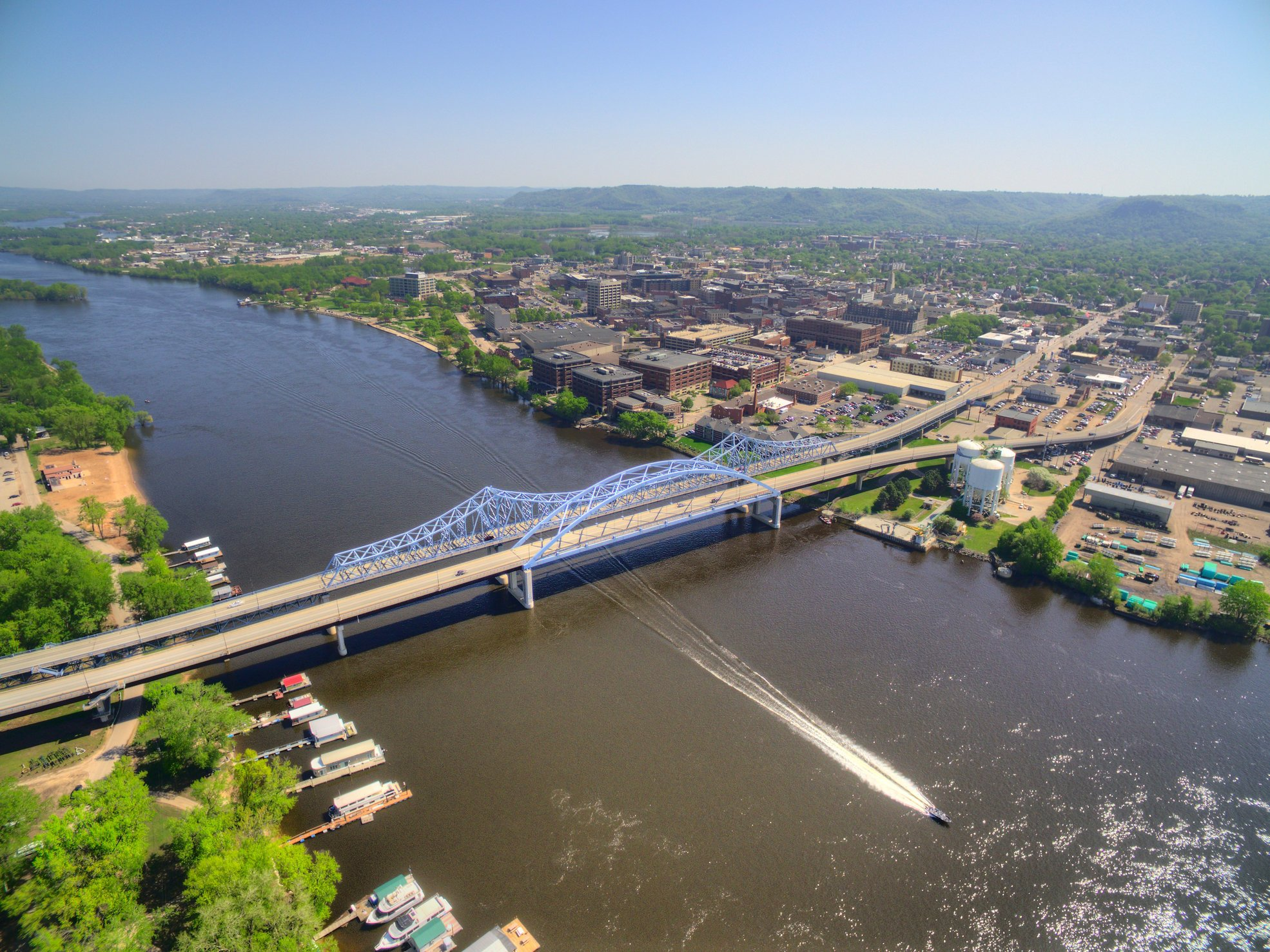An aerial view over the bridge on the Upper Mississippi River in La Crosse, one of the best fishing spots in Wisconsin