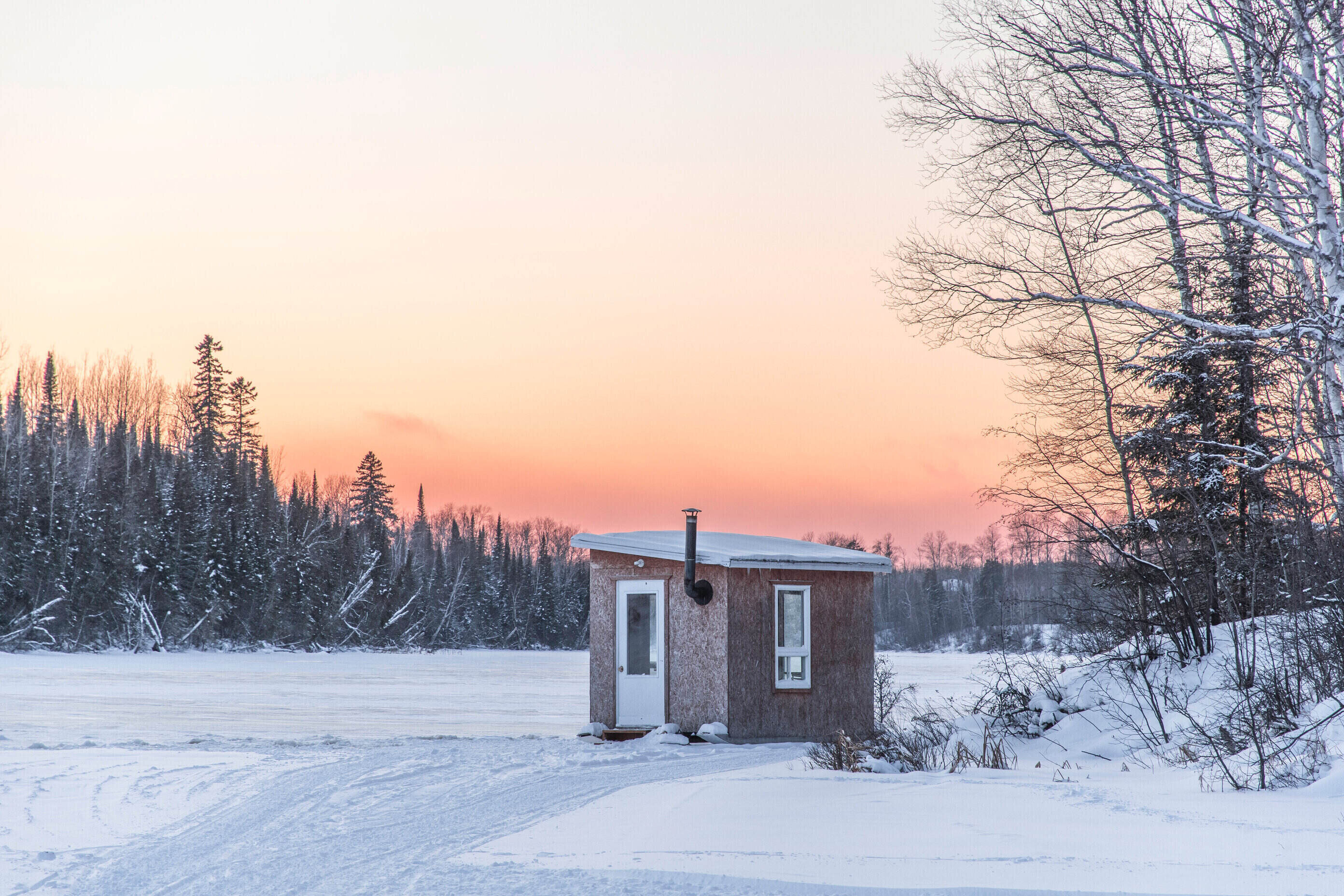 An ice fishing shack on the Lake of the Woods