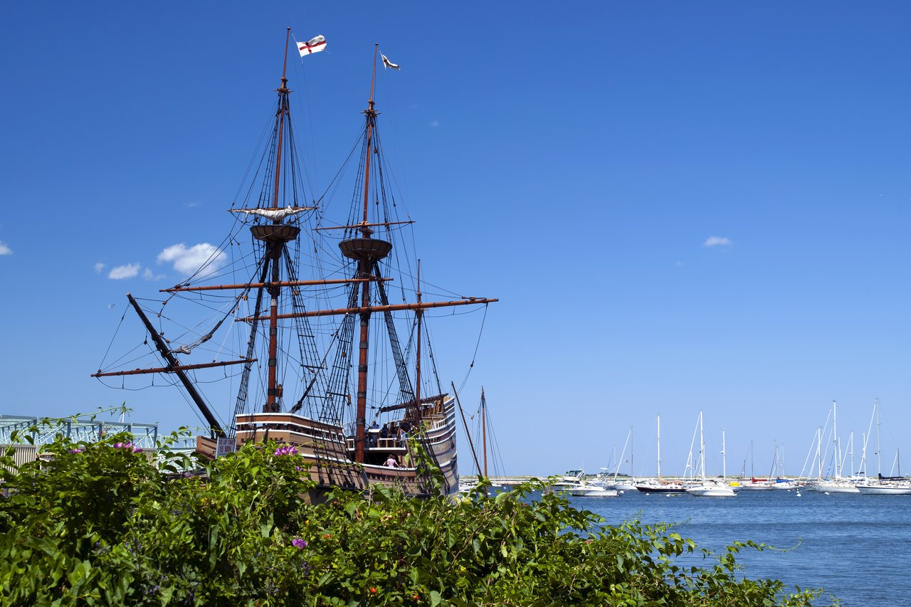 a look at the replica of the Mayflower boat in Plymouth, MA