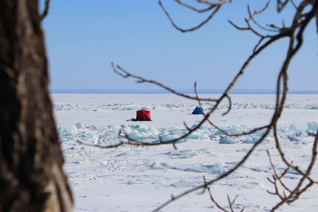 A fishing ice shack, a heated tent on frozen Lake Superior