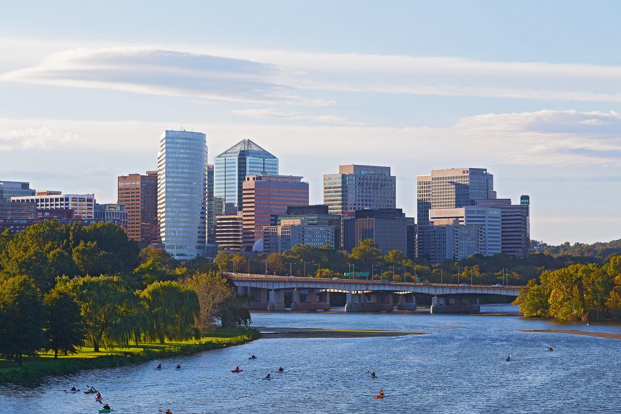 a skyline of Washington D.C. and the Potomac River