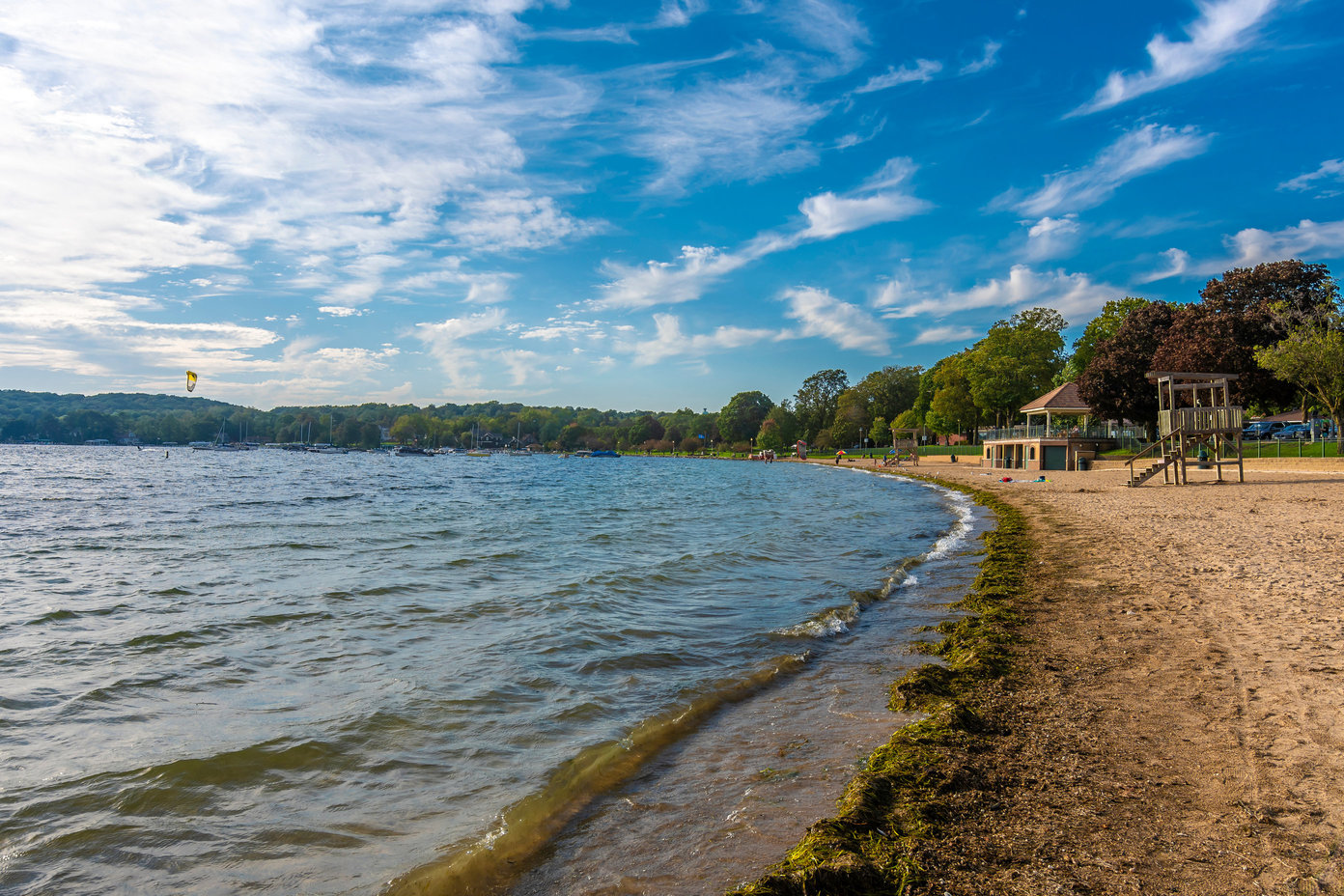 A view of a beach on Lake Geneva in Wisconsin, one of the great fishing spots near Chicago