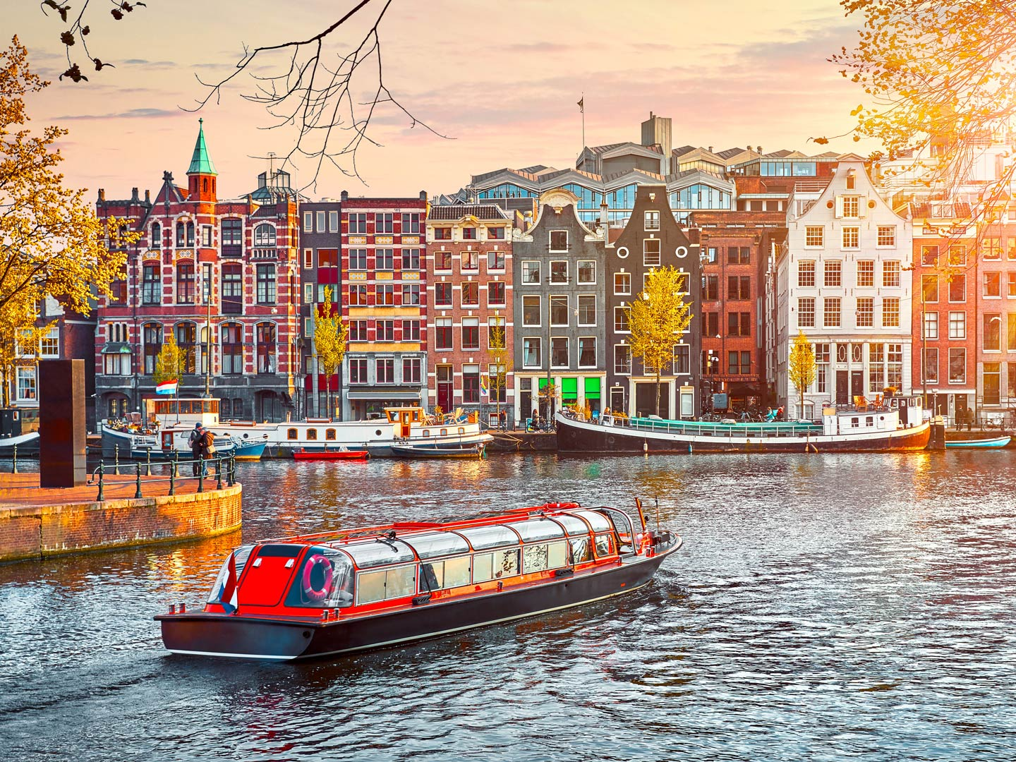 A view of the canals in Amsterdam