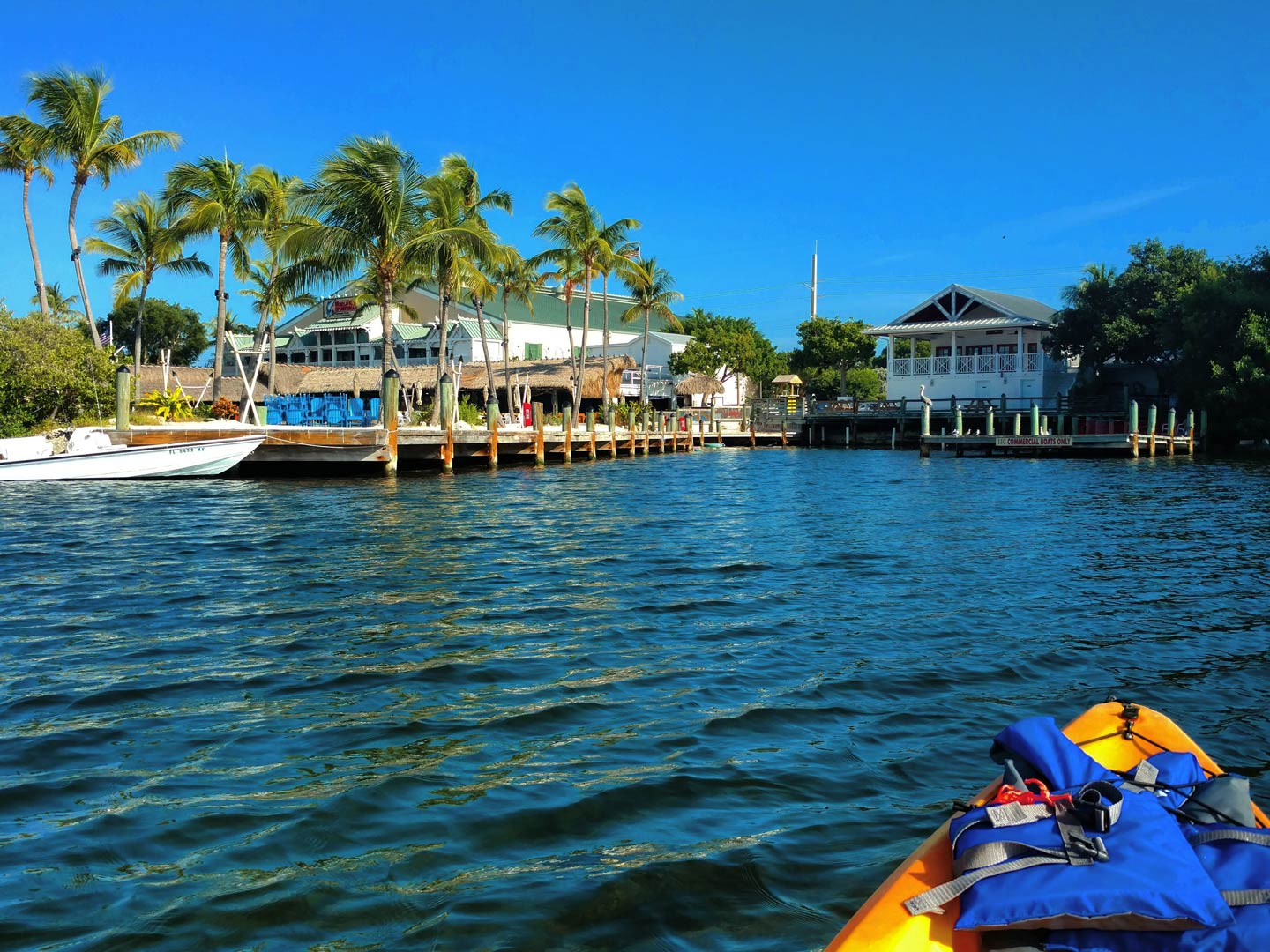 First person view from a kayak in Key Largo, Florida